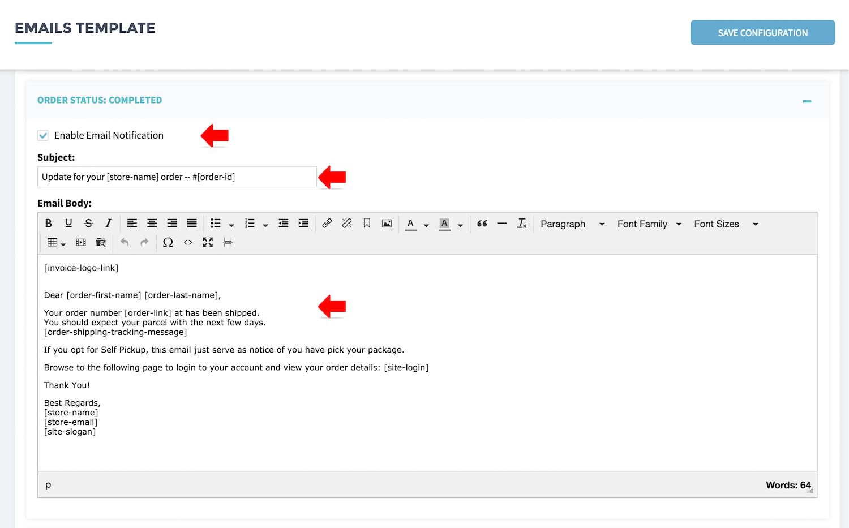 Setup Invoice And Email Template Shopcada